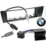 Sound-way Kit Montaje Autoradio, Marco 1 DIN Radio para Coche, Cable Adaptador Conector ISO, Adaptador Antena, Compatible con BMW 1, BMW 3, BMW X1, BMW Z4