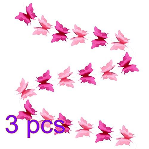 Luoem, ghirlanda di farfalle 3D in carta, festone con farfalle per feste di compleanno, matrimoni, battesimi, 3pezzi (colore rosa)