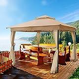 DikaSun Gazebo for Patio 10' x 10' Dual Roof Gazebo with Curtains, Outdoor Shade Canopy...
