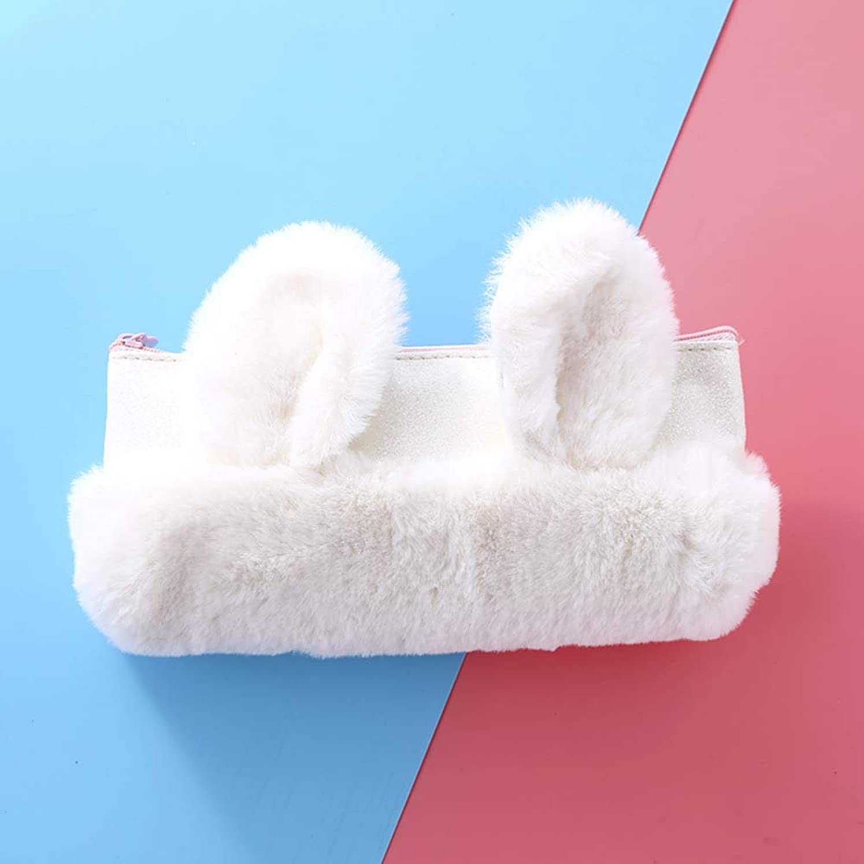DBMART ウサギの収納袋 筆袋 小物ケース カードケース 汎用ポーチ 化粧ポーチ ファスナー キラキラ 可愛い長耳 ふわふわ コンパクト 小型 軽量 出張?旅行向け 旅行用ポーチ アクセサリーケース 大容量 収納力抜群 (ホワイト)