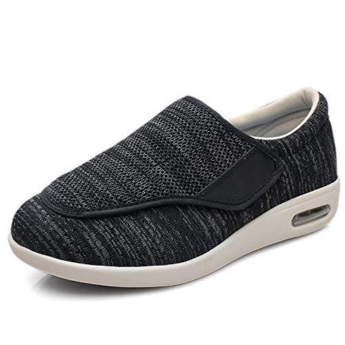 B/H Calzado Interior Antideslizante para DiabéTicos,Zapatos Ancianos de Verano y otoño, Zapatos Unisex con pies hinchados-Negro Gray_40