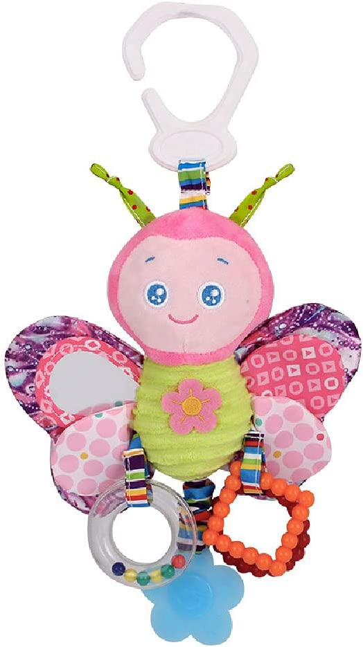 D-KINGCHY Baby Car Toys Stroller Plush Toy Animal Stuffed Hanging Rattle Toys Newborn Crib Bed Around Toy with Teether Rattle Sound for 0-3 Years Old (Butterfly)