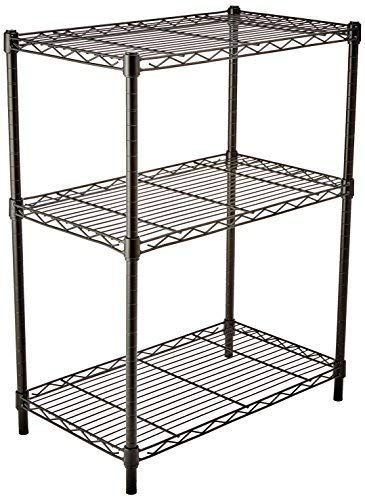 AmazonBasics 3-Shelf Adjustable, Heavy Duty Storage Shelving Unit, Steel Organizer Wire Rack, Black