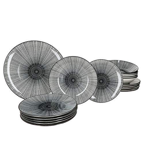 MamboCat Taipei 18-TLG. Teller-Set I Steingut-Geschirr für 6 Personen - modernes schwarz-weiß-Design I je 6X Flache Speiseteller - Tiefe Suppenteller - kleine Kuchenteller I Teller-Service 18 Teile