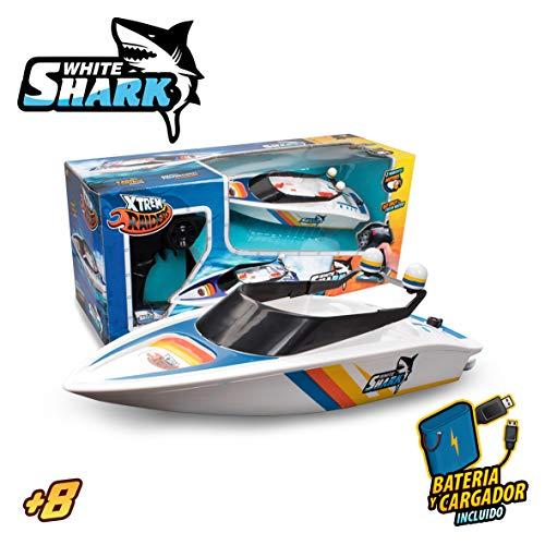 Xtrem Raiders White Shark, radiocontrol, Lancha Agua, teledirigido Alta Velocidad, Juguete para niños, Barco RC (World Brands XT580759)