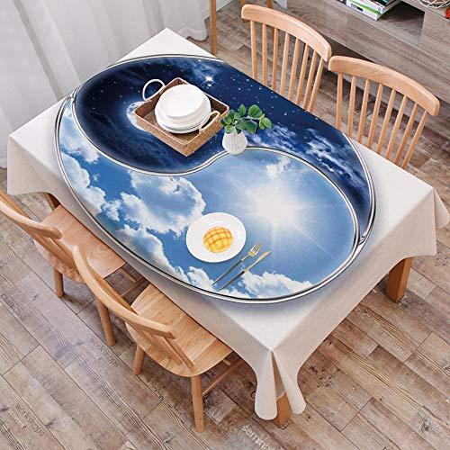 Mantel Antimanchas Rectangular Impermeable,Decoracion del apartamento, Yin Yang World con arte de la armonia de la l,Manteles Mesa Decorativo para Hogar Comedor del Cocina,(140 x 200 cm/55*78 pulgada)