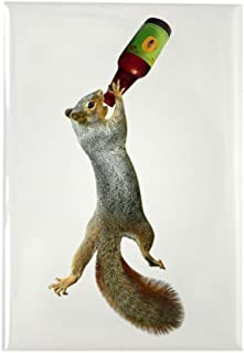 CafePress Squirrel Drinking Beer Rectangle Magnet, 2