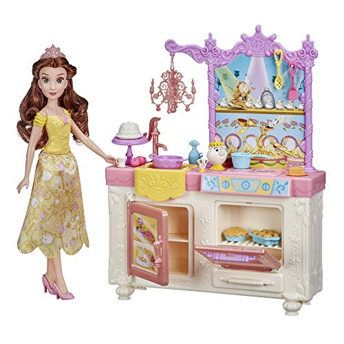 Disney Princess Belle's Royal Kitchen, Fashion Doll and Playset with 13 Accessories, Mrs. Potts, and Chip, Toy for Girls 3 Years and Up