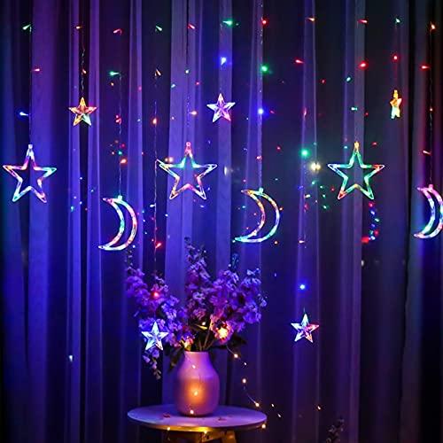 solawill Tenda Luminosa, Luci Fata LED 3.5 M Luci per Tende Luna Stella, LED Ghirlanda Lampada Decorativa, per La Decorazione della Tenda della Finestra di Natale Giardino Domestico di Nozze