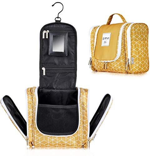 ZAMA XXL Design Kulturtasche | Kulturbeutel zum aufhängen mit 360°-Haken und abnehmbaren Spiegel für Damen, Mädchen und Kinder | Kosmetiktasche, Waschbeutel aufklappbar, groß, leicht für Koffer