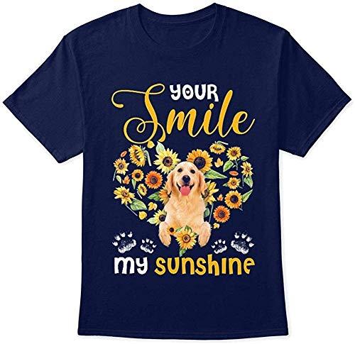 Robeni - Camiseta de algodón para hombre, diseño de perro Golden Retriever