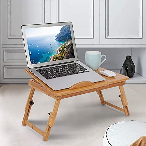GOTOTOP Tavolino per Laptop Pieghevole, Tavolino per Letto Pieghevole Vassoio per Computer con cassetto in bambù, Regolabile (Stile B)