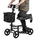AYNEFY Knie Walker,Faltbarer Kniewanderer mit Bremsen Knie Scooter mit höhenverstellbarem Bremskorb-Fahrwagen für Behinderte und Unbequeme Person