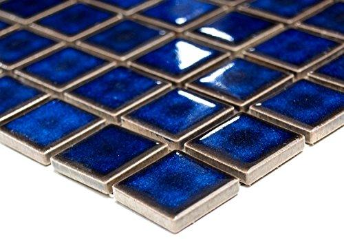 mosaico piastrelle di rete parete UNI blu cobalto lucido ceramica mosaico specchio piastrelle doccia tazza per piastrelle da parete quadrato cucina bagno WC