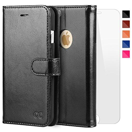 OCASE iPhone 6 Hülle Handyhülle iPhone 6S [ Gratis Panzerglas Schutzfolie ] [Premium Leder] [Standfunktion] [Kartenfach] [Magnetverschluss] Schlanke Leder Brieftasche für Apple iPhone 6/6S Schwarz