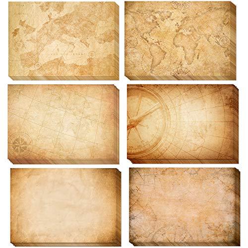 Papel vintage pergamino mapas, 110g/m² | Surtido 30 hojas A3 | Antiguo envejecido, Mapa del tesoro, Doble cara, para Escribir y imprimir, Manualidades, recortes, scrapbook