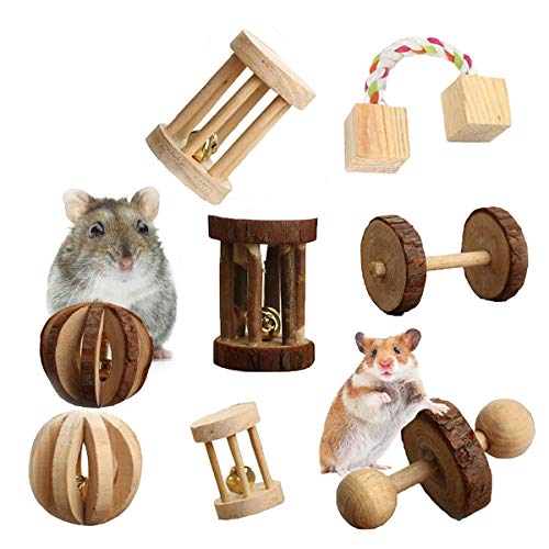 Lovinouse ハムスター おもちゃ 噛むおもちゃ 猫 鳥類 犬 小動物用おもちゃ 木製 ボール 一輪車 ローラー ...