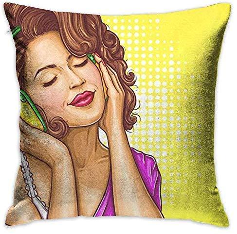 GFGKKGJFF Pop Art - Funda de cojín para sofá, diseño de Mujer Escuchando música en Lienzo de 18 x 18 Pulgadas