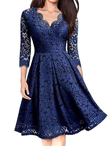 KOJOOIN Damen 1950er Vintage Brautjungfernkleider für Hochzeit Kurzes A-Linie Abendkleider, Dunkelblau (Lange Ärmel), Gr.- L/42-44