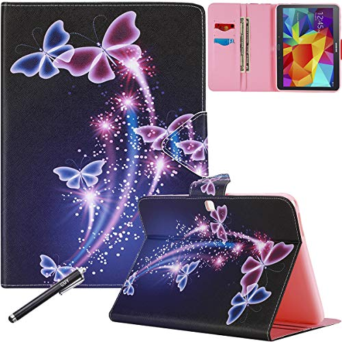 Galaxy Tab 4 10.1 Case, SM-T530 Case, Newshine Magnetic Closure Slim-Fit Stand Case with Card/Money Slots for Samsung Galaxy Tab 4 10.1 inch (SM-T530NU) - Purple Butterfly