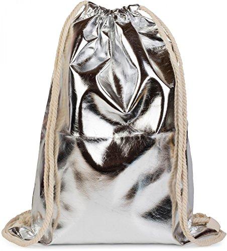 styleBREAKER Turnbeutel im Metallic Look, Sportbeutel, Rucksack, Beutel, Unisex 02012117, Farbe:Silber Metallic