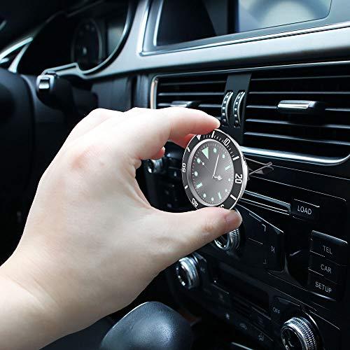 Sunjuly Mini-wandklok voor de auto, kwartsuurwerk, voor auto's, SUV's, kantoor, werkbank, decoratie van de auto, plank, diameter 5 cm (blauw) Pack of 1X zwart.