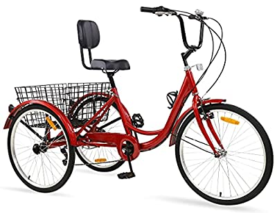 Ey Adult Tricycle, 3 Wheel Bike Adult, Three Wheel Cruiser Bike 24 26 inch Wheels with Basket, 7 Speed, Adjustable Seat and Handlebar, Multiple Colors