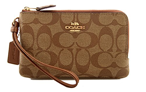 COACH Signature PVC Double Corner Zip Khaki/Saddle 2 One Size