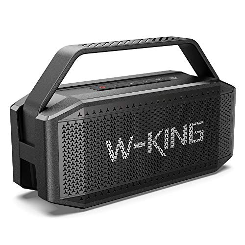 60W(80W Peak)Bluetooth Speaker, W-KING Speakers Bluetooth Wireless with 40H Playtime, 12000mAh Battery Power Bank, TWS, NFC, Mic, IPX6 Waterproof Outdoor Speakers, Loud, Rich Bass, Crystal Clear Audio