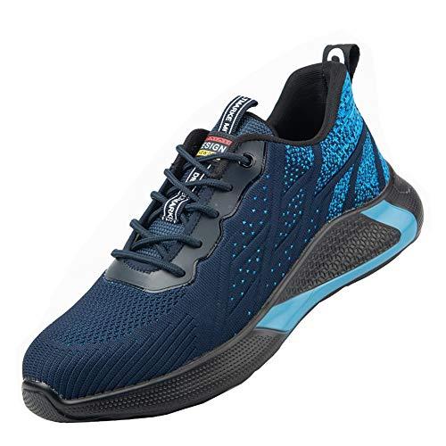 Zapatos de Seguridad S3 Hombre Transpirables Antideslizante Zapatillas de Trabajo Mujer Ligeros Punta de Acero