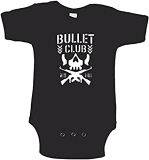 Squared Circle Bullet Club Skull Logo Childrens Infant Baby Black Bodysuit