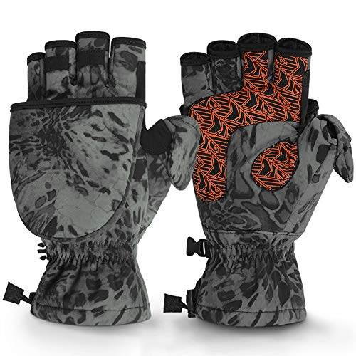 KastKing PolarBlast Ice Fishing Gloves Convertible Mittens – Cold Weather Fishing Mittens and Fingerless Gloves with 3M Thinsulate – Winter Fishing Mittens– Ideal for Ice Fishing, Photography, Medium