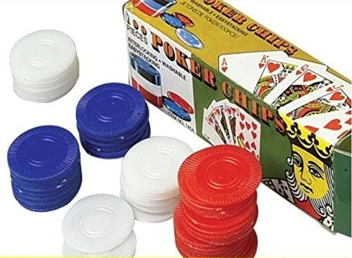 free shipping 1 year warranty 100 Plastic Poker Chips Blue - Red White