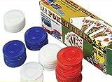 100 Plastic Poker Chips - Red White Blue