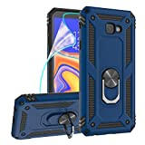 ZingCon Compatible for Samsung Galaxy J4 Core Phone Case,Galaxy J4 Plus Case,Shockproof Protective Cover with Rotating Ring Kickstand and HD Screen Protector Fit Magnetic Car Mount-Blue