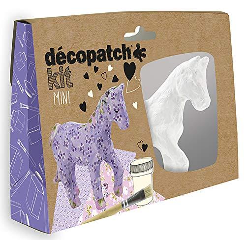 Décopatch KIT010O - Un mini-kit comprenant un animal en papier pulpé blanc, 2 feuilles Décopatch,...