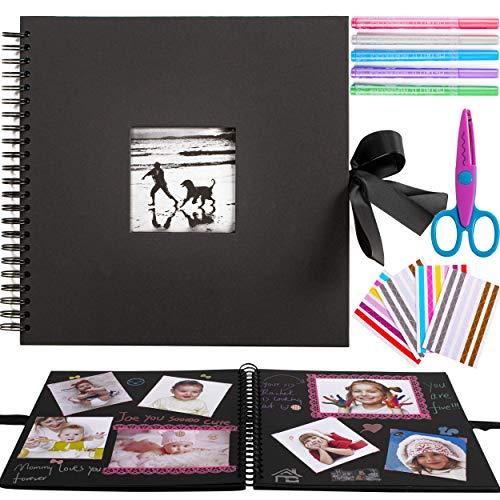 Inicia 30x30 cm Kit Álbum de Fotos Scrapbook Recortes para Pegar con 5 Bolígrafos Metálicos, Tijeras y 216 Esquineras para Fotografías, Ideal para Regalar o para Uso Propio,60 Páginas.