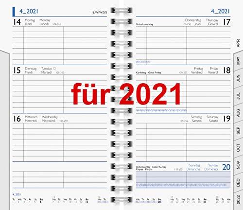 Taschenkalender 2021 Einlage Kalendarium 9x15cm Spiralbindung Modell 756 10-75601