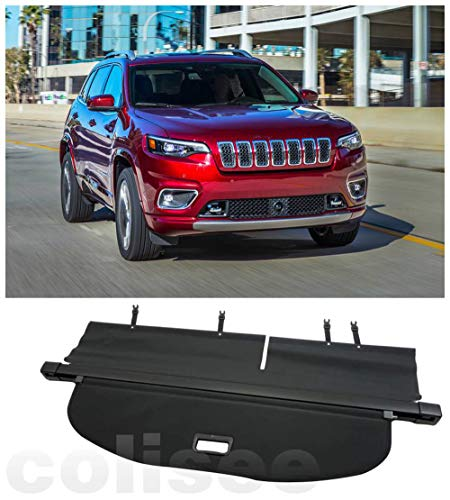 Cosilee Rear Trunk Cargo Cover Compatible for 2019 2020 2021 Jeep Cherokee Accessories Retractable Cargo Luggage Security Shade Cover