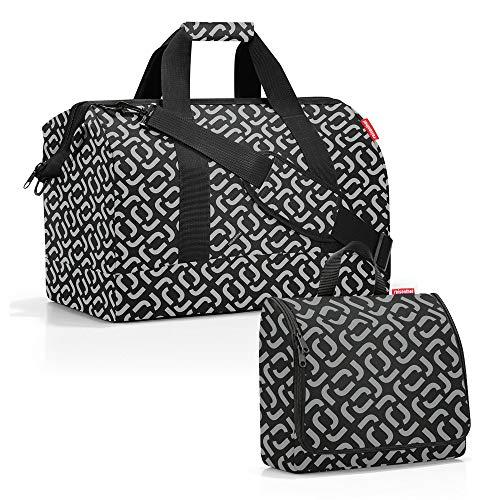 reisenthel Set sac de voyage Allrounder taille L avec trousse de toilette toiletbag taille XL - Noir - Signature Black., 30 l
