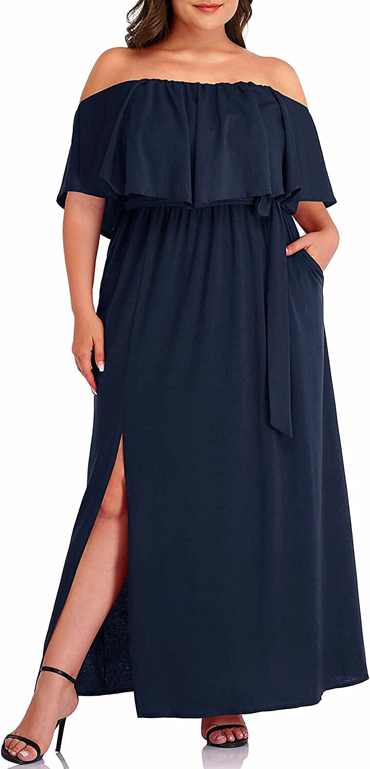 Women's Plus Size Off The Shoulder Maxi Slit Ruffle with Pockets Cocktail Dress