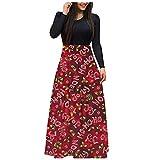 Vestido de verano para mujer con cuello en V, manga larga, para Navidad, cintura alta, para bodas, vacaciones, fiestas, costuras, falda larga, rojo, L
