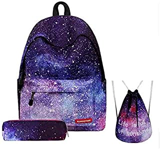 3PCS /set Women Stars Universe Space Backpack School Bags For Teenage Girls Shoulder Drawstring Bags Travel Students Polyester Cute Women Girl School Shoulder Bag Backpack Causal Laptop Bag