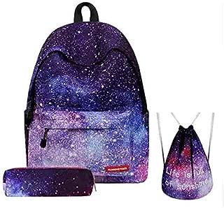 3PCS /set Women Stars Universe Space Backpack School Bags For Teenage Girls Shoulder Drawstring Bags Travel Students Polyester Cute Women Girl School Shoulder Bag Backpack Causal Laptop Bag