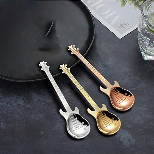 SMEJS 3 PCS Lindas Coffee Spoons Guitar Forma Mini Postre Cuchara para Helado Metal Acero Inoxidable Instrumento Musical Bajo Cuchara pequeña
