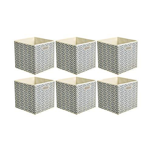 Amazon Basics - Cajas de almacenamiento de tela, con forma de cubo, plegables, con ojales metálicos, 6 unidades, chevrón gris
