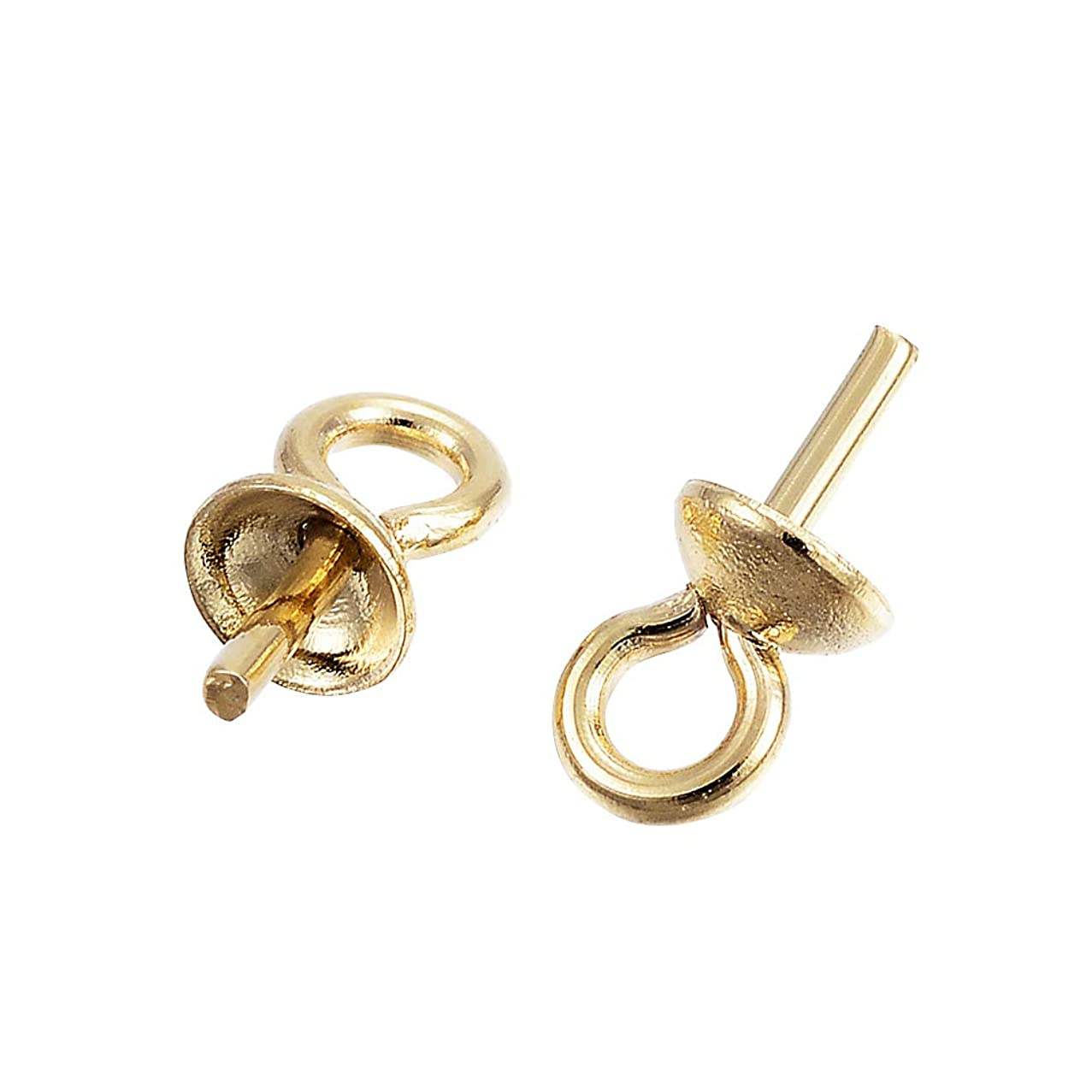 UNICRAFTABLE 100pcs 304 Stainless Steel Cup Pearl Bail Pin Pendants for Half Drilled Beads with 0.8mm Pin Golden Cup Pearl Screw Eye Pin Bail Peg Pendants for Jewelry Making 7x4mm