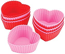 Heart Shaped Baking Essentials for Valentines Day featured by top US dessert blog, Practically Homemade: heart shaped silicone baking cups