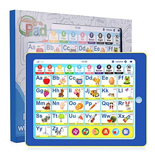 Gomyhom Baby Tablet for 1 Year Old Toddler Tablet Educational Tablet Toy Electronic Learning Pad to Learn Alphabet, Numbers, Colors, Phonetic Transcription for Kids ABC Learning for Toddlers