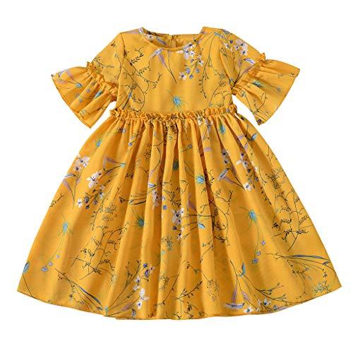 Longra Prinsessenjurk, voor meisjes, voor kleine kinderen, baby's, kinderen, jurk met ruches, bloemen, prinsessenkleding